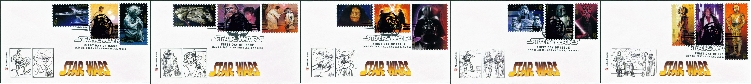 Star Wars FDC's Set of 5 Covers With 3 Stamps on Each Cover - 5/25/07